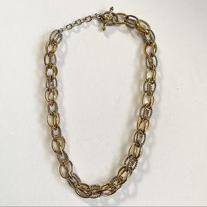 STATEMENT Round Silver & Gold Tone Chain Necklace